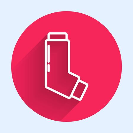 White line Inhaler icon isolated with long shadow. Breather for cough relief, inhalation, allergic patient. Medical allergy asthma inhaler spray. Red circle button. Vector Illustration