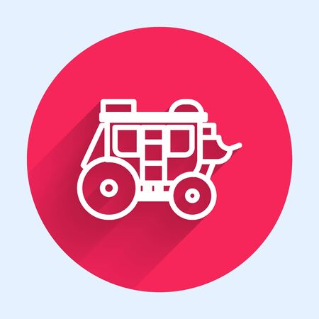 White line Western stagecoach icon isolated with long shadow. Red circle button. Vector Illustration Vecteurs