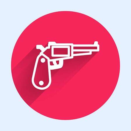 White line Revolver gun icon isolated with long shadow. Red circle button. Vector Illustration