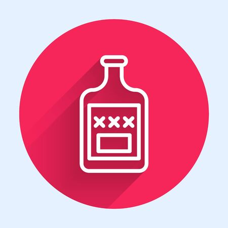 White line Whiskey bottle icon isolated with long shadow. Red circle button. Vector Illustration