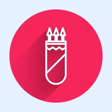 White line Quiver with arrows icon isolated with long shadow. Red circle button. Vector Illustration 向量圖像
