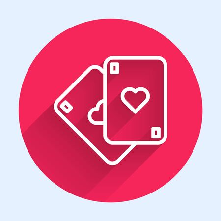 White line Playing cards icon isolated with long shadow. Casino gambling. Red circle button. Vector Illustration Ilustrace