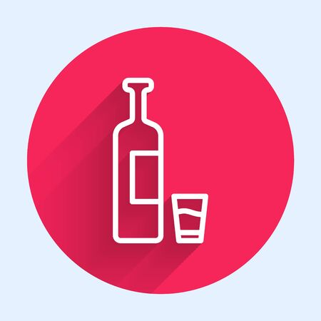 White line Whiskey bottle and glass icon isolated with long shadow. Red circle button. Vector Illustration