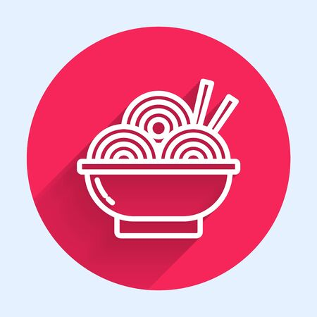 White line Asian noodles in bowl and chopsticks icon isolated with long shadow. Street fast food. Korean, Japanese, Chinese food. Red circle button. Vector Illustration
