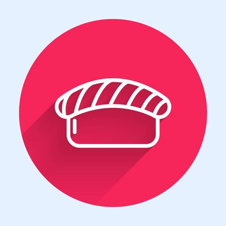 White line Sushi icon isolated with long shadow. Traditional Japanese food. Red circle button. Vector Illustration Vectores