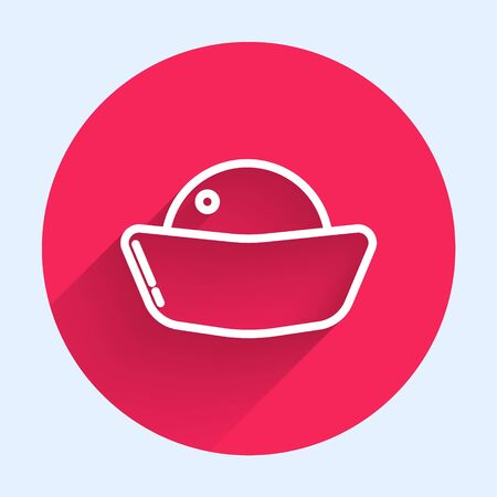 White line Sushi icon isolated with long shadow. Traditional Japanese food. Red circle button. Vector Illustration Ilustrace