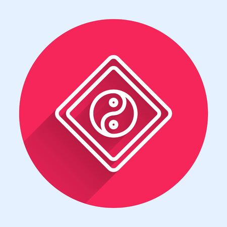 White line Yin Yang symbol of harmony and balance icon isolated with long shadow. Red circle button. Vector Illustration