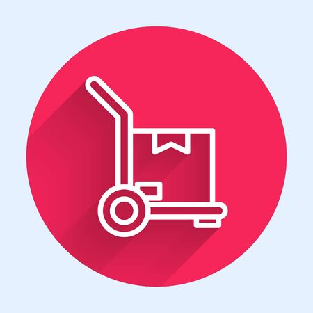 White line Hand truck and boxes icon isolated with long shadow. Dolly symbol. Red circle button. Vector Illustration
