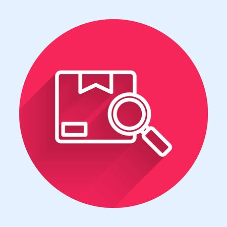 White line Search package icon isolated with long shadow. Parcel tracking. Magnifying glass and cardboard box. Logistic and delivery. Red circle button. Vector Illustration Ilustrace