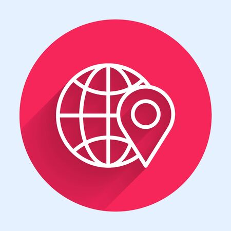 White line Location on the globe icon isolated with long shadow. World or Earth sign. Red circle button. Vector Illustration