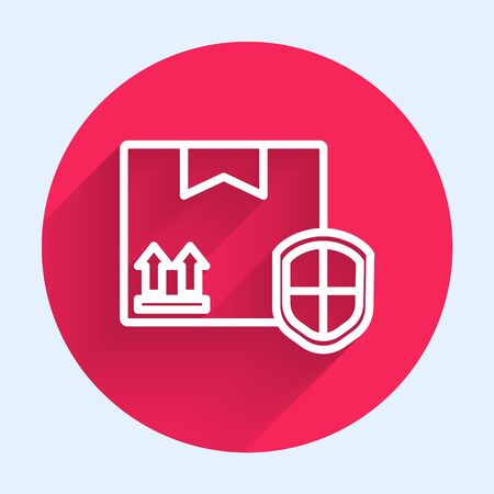 White line Delivery pack security with shield icon isolated with long shadow. Delivery insurance. Insured cardboard boxes beyond the shield. Red circle button. Vector Illustration