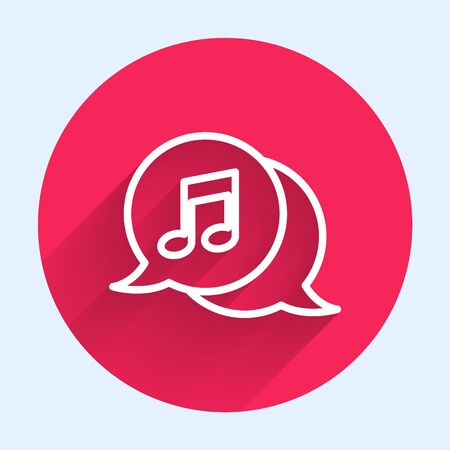 White line Musical note in speech bubble icon isolated with long shadow. Music and sound concept. Red circle button. Vector Illustration