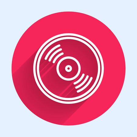 White line Vinyl disk icon isolated with long shadow. Red circle button. Vector Illustration Ilustração