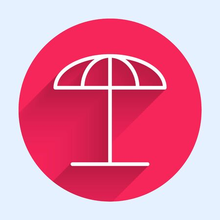 White line Sun protective umbrella for beach icon isolated with long shadow. Large parasol for outdoor space. Beach umbrella. Red circle button. Vector Illustration