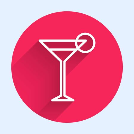 White line Martini glass icon isolated with long shadow. Cocktail icon. Wine glass icon. Red circle button. Vector Illustration Ilustrace