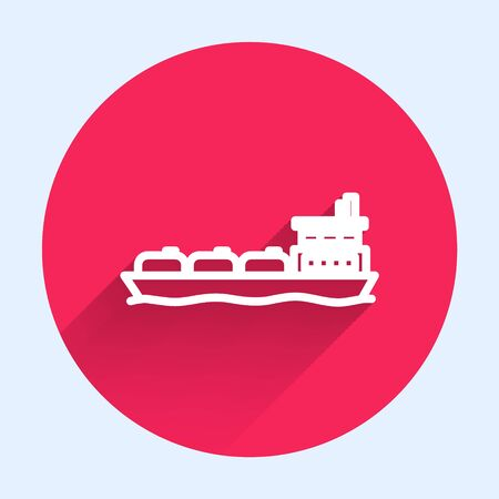 White line Oil tanker ship icon isolated with long shadow. Red circle button. Vector Illustration
