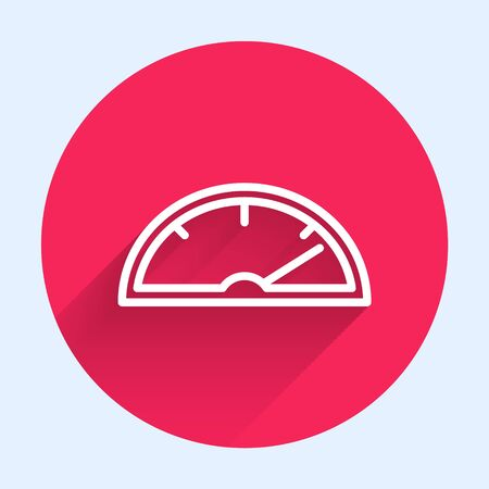 White line Speedometer icon isolated with long shadow. Red circle button. Vector Illustration