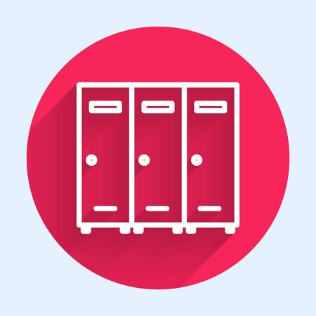 White line Locker or changing room for hockey, football, basketball team or workers icon isolated with long shadow. Red circle button. Vector Illustration