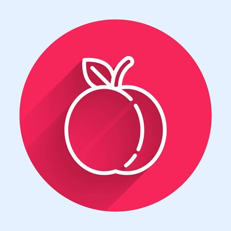 White line Peach fruit or nectarine with leaf icon isolated with long shadow. Red circle button. Vector Illustration