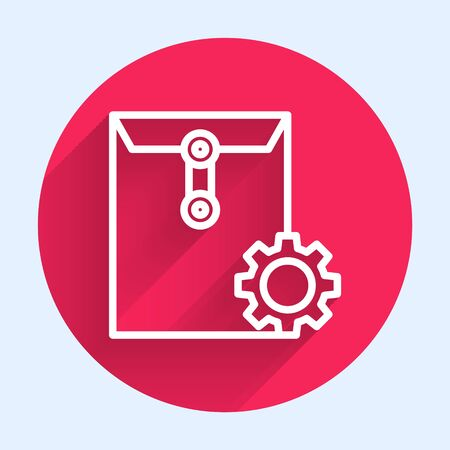 White line Envelope setting icon isolated with long shadow. Red circle button. Vector Illustration Illusztráció