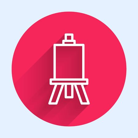White line Wood easel or painting art boards icon isolated with long shadow. Red circle button. Vector Illustration