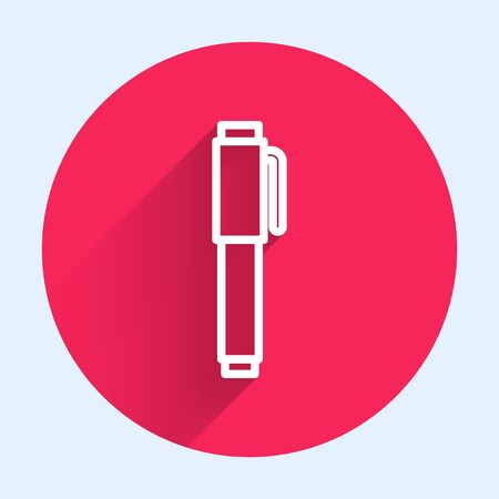 White line Pen icon isolated with long shadow. Red circle button. Vector Illustration Stock Illustratie