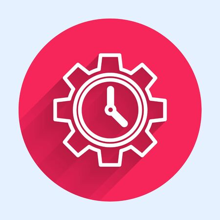 White line Time Management icon isolated with long shadow. Clock and gear sign. Productivity symbol. Red circle button. Vector Illustration