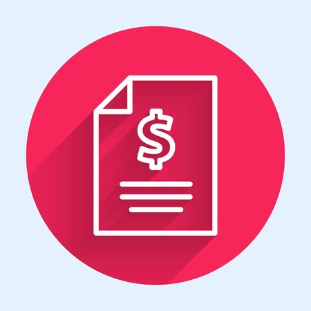 White line Contract money icon isolated with long shadow. Banking document dollar file finance money page. Red circle button. Vector Illustration 스톡 콘텐츠 - 140753001