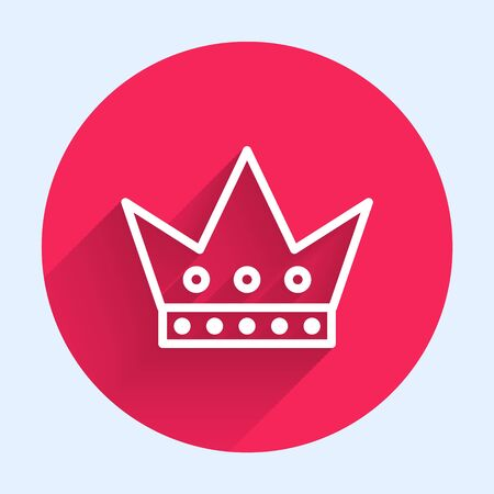 White line King playing card icon isolated with long shadow. Casino gambling. Red circle button. Vector Illustration Banque d'images - 140752908