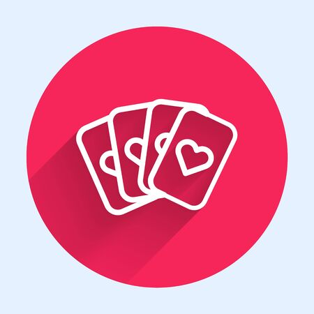 White line Deck of playing cards icon isolated with long shadow. Casino gambling. Red circle button. Vector Illustration