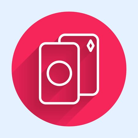 White line Deck of playing cards icon isolated with long shadow. Casino gambling. Red circle button. Vector Illustration Banque d'images - 140706275