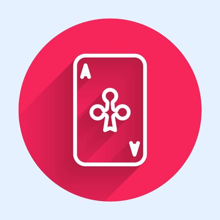 White line Playing card with clubs symbol icon isolated with long shadow. Casino gambling. Red circle button. Vector Illustration Banque d'images - 140752913
