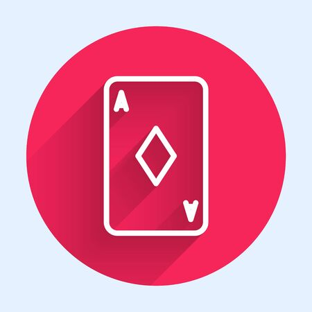 White line Playing card with diamonds symbol icon isolated with long shadow. Casino gambling. Red circle button. Vector Illustration Banque d'images - 140752915