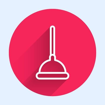 White line Rubber plunger with wooden handle for pipe cleaning icon isolated with long shadow. Toilet plunger. Red circle button. Vector Illustration