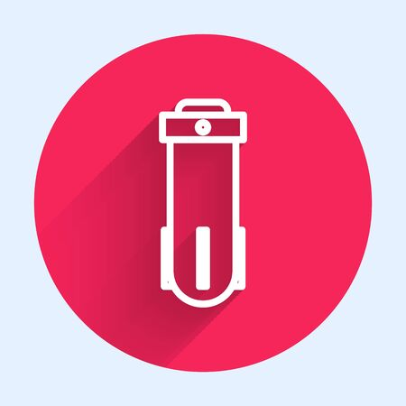 White line Water filter icon isolated with long shadow. System for filtration of water. Reverse osmosis system. Red circle button. Vector Illustration Illustration