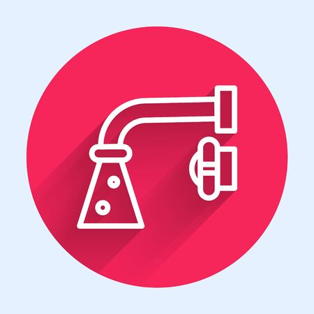 White line Water tap icon isolated with long shadow. Red circle button. Vector Illustration Ilustrace