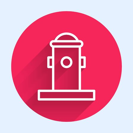 White line Fire hydrant icon isolated with long shadow. Red circle button. Vector Illustration Иллюстрация