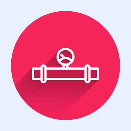 White line Industry metallic pipe and manometer icon isolated with long shadow. Red circle button. Vector Illustration