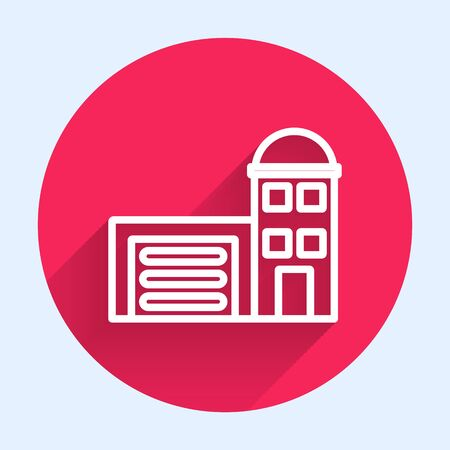 White line Building of fire station icon isolated with long shadow. Fire department building. Red circle button. Vector Illustration
