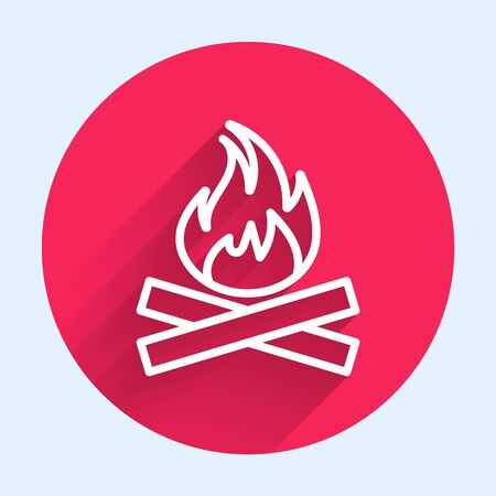 White line Campfire icon isolated with long shadow. Burning bonfire with wood. Red circle button. Vector Illustration