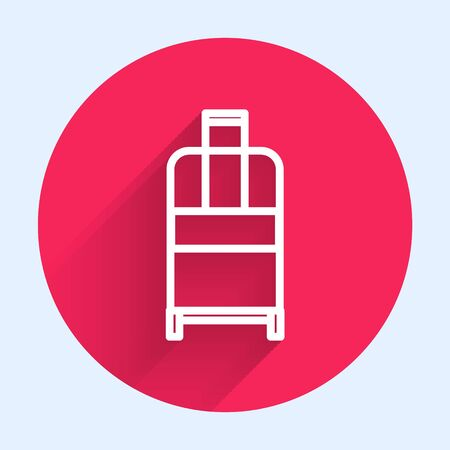 White line Suitcase for travel icon isolated with long shadow. Traveling baggage sign. Travel luggage icon. Red circle button. Vector Illustration
