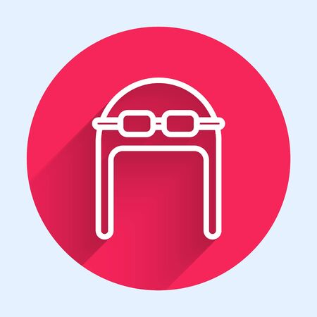 White line Aviator hat with goggles icon isolated with long shadow. Pilot hat. Red circle button. Vector Illustration Vectores