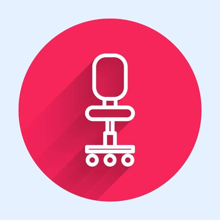 White line Office chair icon isolated with long shadow. Red circle button. Vector Illustration Ilustracja