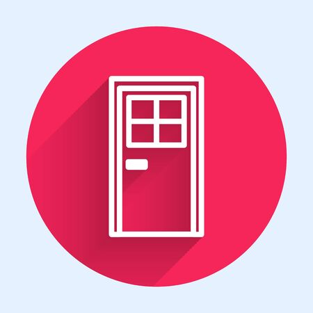 White line Closed door icon isolated with long shadow. Red circle button. Vector Illustration