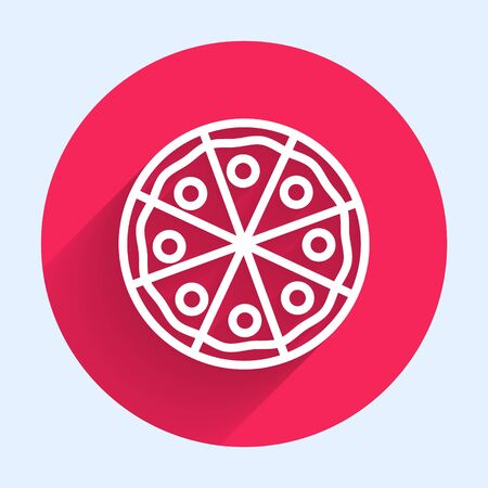 White line Pizza icon isolated with long shadow. Fast food menu. Red circle button. Vector Illustration