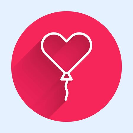 White line Balloon in form of heart with ribbon icon isolated with long shadow. Valentines day. Red circle button. Vector Illustration Ilustrace