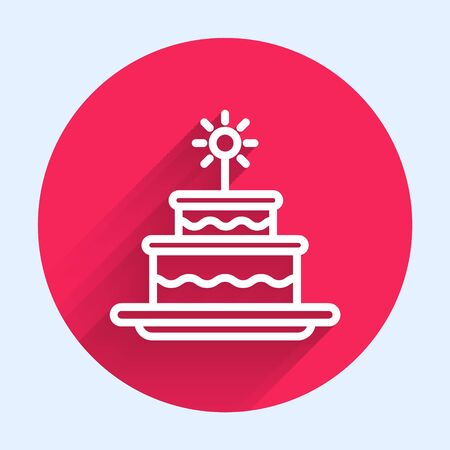 White line Cake with burning candles icon isolated with long shadow. Happy Birthday. Red circle button. Vector Illustration Ilustrace