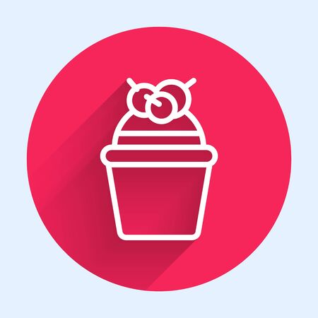 White line Cake icon isolated with long shadow. Happy Birthday. Red circle button. Vector Illustration Ilustrace