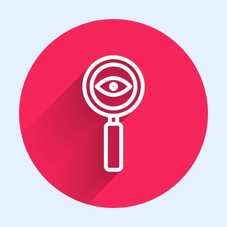 White line Magnifying glass icon isolated with long shadow. Search, focus, zoom, business symbol. Red circle button. Vector Illustration Ilustrace