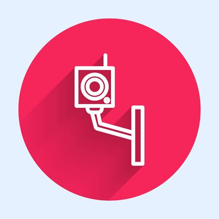 White line Security camera icon isolated with long shadow. Red circle button. Vector Illustration Illustration